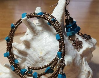 Memory Wire Beaded Wrap Bracelet and Matching Earrings