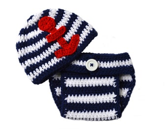 Newborn Photo Prop, Nautical Baby Set, Anchor Hat Diaper Cover Set, Crochet Baby Outfit, Nautical Newborn Outfit, Red White Blue 4th of July