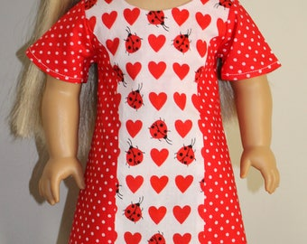 18 inch doll clothes - Valentine's Day Dress - Red hearts, ladybugs and polka dots - Party Dress