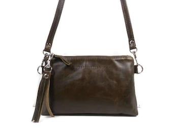 Leather Crossbody Purse, Leather Crossover Bag, Minimalist Bag, Boho Crossbody Bag, Leather Tassel Bag, Leather Wristlet, Made in USA