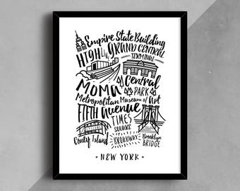 NYC Print, New York City Poster, New York, NYC Wall Art, Travel Art Print, Typography Print, Black and White NYC