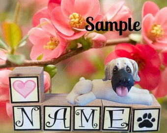 English Mastiff dog sculpture PERSONALIZED with your dog's name on blocks by Sally's Bits of Clay