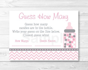 Pink Chevron Guess How Many Baby Shower Game / Pink & Gray / Candy Guessing Game / INSTANT DOWNLOAD A201