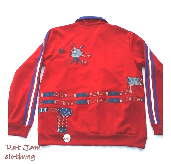 Upcycled tri-red track jacket, Adidas jacket with altered stripes by Dat Jam clothing