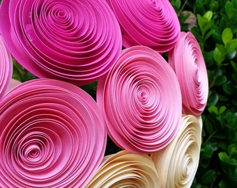 Paper Flower Bouquet - Pink Ombre Paper Flower Bouquet - Perfect for Brides, Weddings, Showers, Birthdays