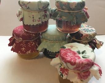 Wedding Favour Fabric Mini Jam Jar Lid Top Covers X 50 Burgundy & Green Jam Pot Covers Fabric Jar Covers Mini Jar Covers with twine and band