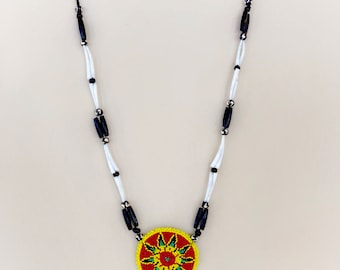 Native American Beaded Medallion Necklace - Buffalo Bone - Dentalium Shell Necklace - Authentic Native American - Native Beadwork - (ww102)