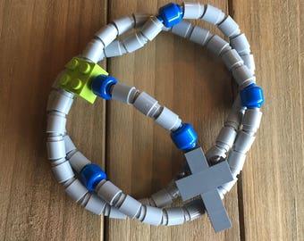 Rosary made of Lego Bricks - Light Gray, Blue, Lime & Dark Gray Catholic Rosary