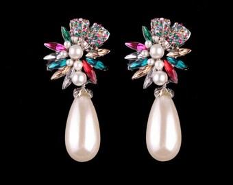 Bridal Earrings, Pearl Drop Earrings, Crystal Earrings, Wedding Earrings, Drop Earrings, New Earrings