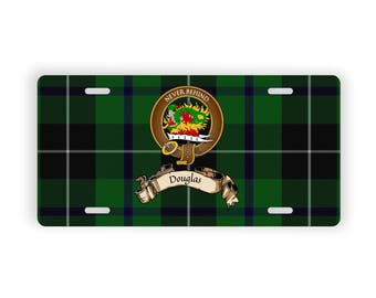 Scottish Clan Douglas Tartan Crest Novelty License Plate