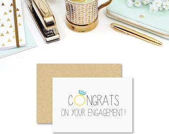 Engagement Card Congratulations | Congrats Diamond Ring | Engagement Ring | Wedding Card | Engagement Gift | Card for Engagement | ENG020