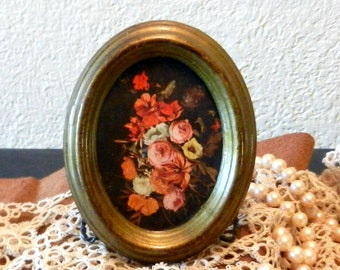 Miniature Vintage Floral Art Print, Small Vintage Floral Print, Vintage Florentine Oval Frame with Floral Print, Made in Italy, Gift for Her