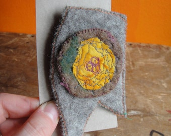 Art Brooch - Medal Pin - Textile Art Jewellery