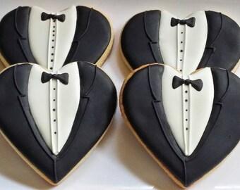 Tuxedo Cookies, Groom's Cookies,  Bachelor Favors, Wedding Favors,  Gentleman,  Cookies for Men