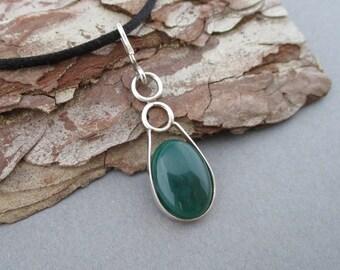 Green Onyx and Sterling Silver Pendant Necklace Handmade With Both Sterling Silver Chain AND Black Neck Cord 1-1/2 Inch Long X 1/2 Inch