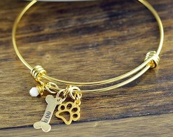 Dog Bangle Personalized,Paw Print Bangle, Pet Bangle, In Memory Of Dog, Pet Memorial Jewelry, Memorial Jewelry, Dog Bone Bracelet