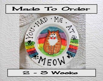 Rainbow 6 Inch Cat Plate Handmade To Order In Clay by Grace M Smith Pet Food Dish