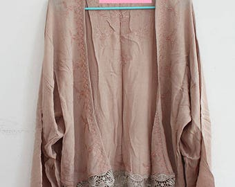 Taupe Brown Kimono with Lace Trim