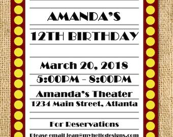 Printable Broadway Red Carpet Invitation - party paper goods Invite DIY boy girl card printable birthday JPG PDF digital