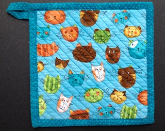 CAT Potholder, gift for cat lover, crazy cat lady, cat lover gift, cat kitchen, stocking stuffer, cat faces, quilted potholder, cat rescue