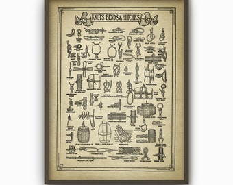 Vintage Knots Bends and Hitches Wall Art Poster - Antique Knots Book Plate Illustrations - Knot Tying Wall Art Poster - Rope Knots