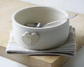 Heart motif serving dish - wheel thrown stoneware bowl in vanilla cream