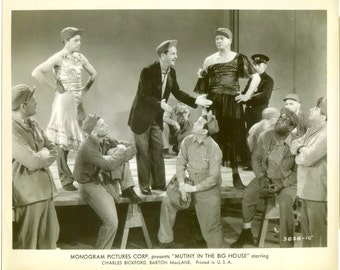 Vintage Glossy 8 x 10 Photo Mutiny In The Big House Monogram Pictures Corp Men In Drag Crossdressing Movie Memorabilia