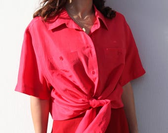 Vintage red 100% silk button down shirt.over size