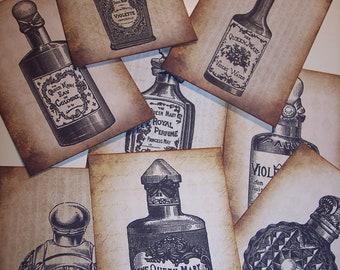 Vintage Perfume Bottles Journaling Tags set of 8