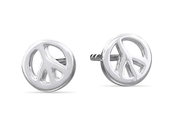 sterling peace earrings stud pin silver sign