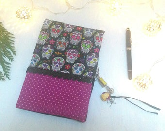 Secret lock notebook / diary girl / Mexican skulls / notebook / artist book / travel / skull