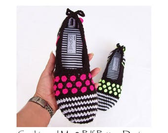Gems and Stripes Slippers - Crochet Pattern - Instant Download Pdf