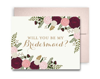 Will You Be My Bridesmaid Card Bridesmaid Cards Ask Bridesmaid Bridesmaid Maid of Honor Gift Matron of Honor Flower Girl #CL157