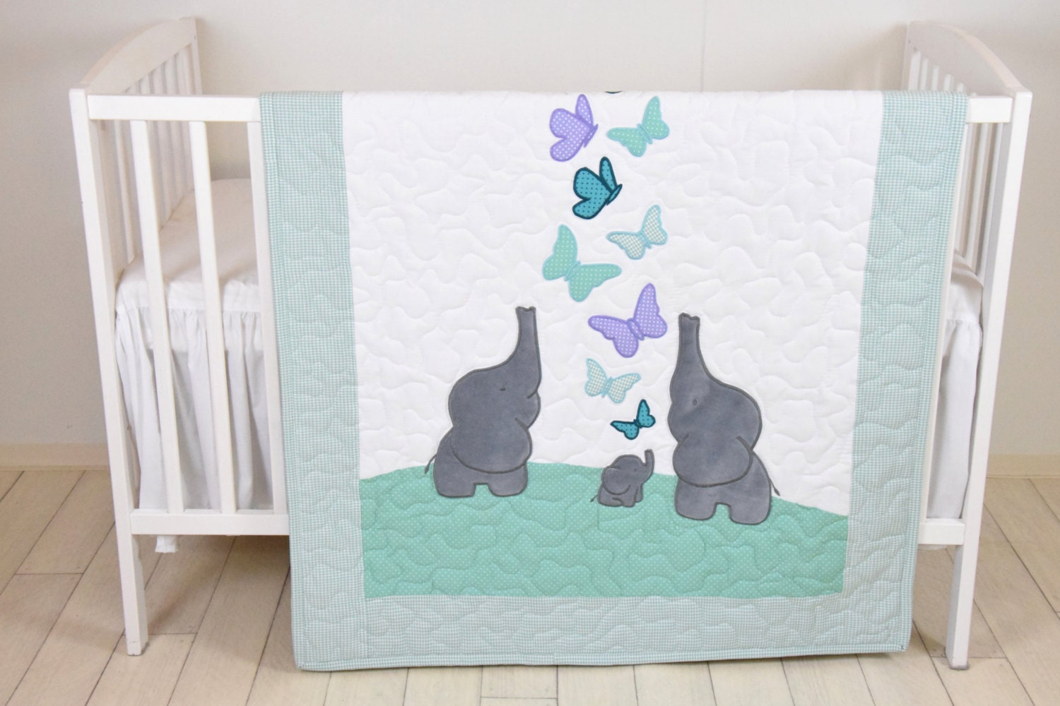 Purple And Gray Elephant Baby Bedding