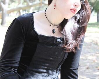 Gothic Vampire coffin black widow corset top FREE SHIPPING