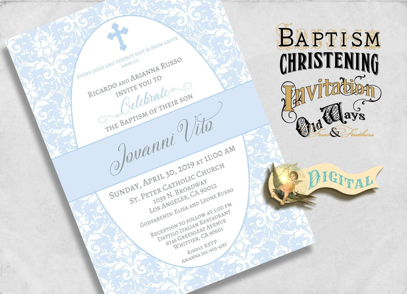 Printable Baby Boy Baptism Invitation Blue and White Damask