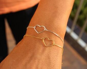 Heart Bracelet, Love Bracelet, Valentines Bracelet, Dainty Bracelet, Charm Bracelet, Silver Bracelet, Bracelet For Women, Gift For Her