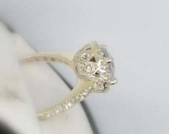 Handmade Natural white sapphire ring inlaid with 1.5 mm white sapphires in a silver Engagement ring P-047