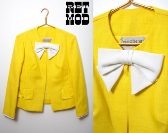Happy Vintage 60s Bright Yellow & White Bow Linen Jacket