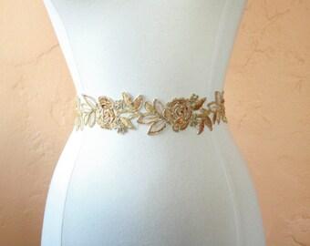 Gold Lace Flower Bridal Sash