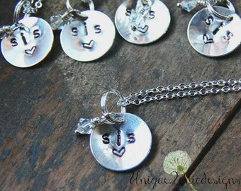 Sibling Necklaces, Personalized Sibling Jewelry, Personalized Hand Stamped Necklace, Sibling Necklace, Hand Stamped Jewelry, Gift for Her