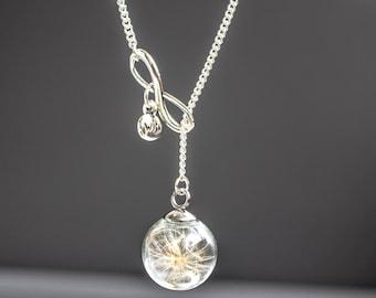 Dandelion Necklace, infintiy, Tiny Real dandelion Necklace,  Wish dandelion Jewelry. glass globe Pendant, Birthday Gift, dandelion seeds