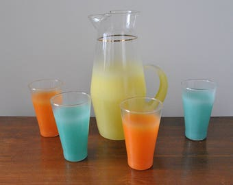 Vintage West Virginia Glass Frosted Blendo Pastel Yellow Pitcher & 4 Tumblers Set