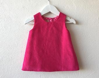 Baby girl reversible pinafore dress fuchsia pink corduroy dress