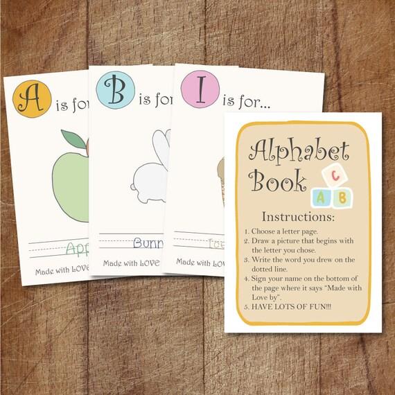 Alphabet Book Baby Shower Game Printable, Babyu0027s First Alphabet Book  Keepsake, Alphabet Scrapbook For Baby Shower, Storybook Baby Shower