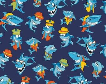 Nicky Velour Shark Print Fabric, Extra Wide Fabric - Half Metre