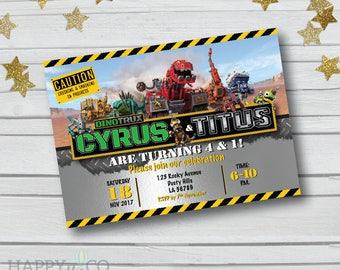DIGITAL Dinotrux Party Invitation, Dinotrux Party, Dinosaur Party Invite, Dino Trux