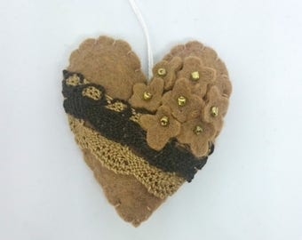 Romantic Heart ornament - lace with flowers in brown felt decoration - Valentine's day decor Birthday Christmas Home wedding supplies
