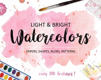 Watercolor Textures Clipart. Over 100 handpainted watercolor backgrounds, forms, patterns for greeting cards, branding, scrapbooking. Png