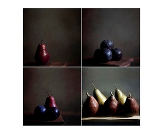 Food Photography, Rustic Kitchen Art, Dark Brown, Set of 4 Prints, Pears, Plums